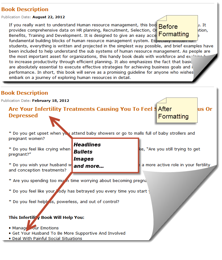 amazon book description formatting
