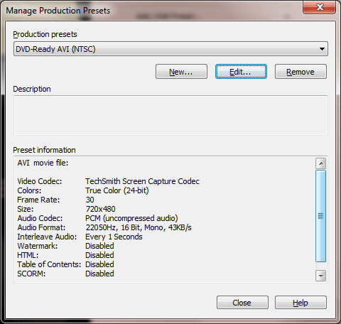 Camtasia DVD Settings